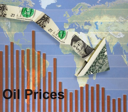 price uncertainty: Downward pointing dollar arrow over oil prices bar graph