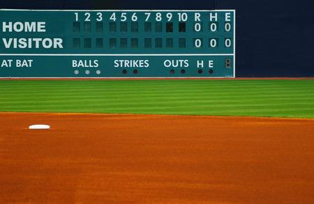 Retro baseball scoreboard, with field in foreground Foto de archivo