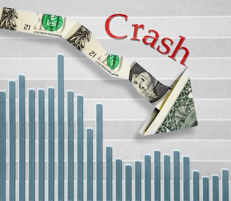 price uncertainty: Down pointing dollar arrow with Crash text over stock market graph Stock Photo