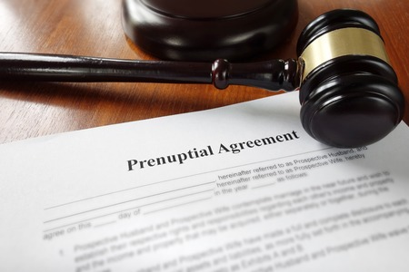 Prenuptial marriage agreement with legal gavel