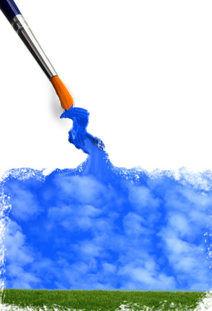 creative artist: Green grass and  blue sky being painted Stock Photo