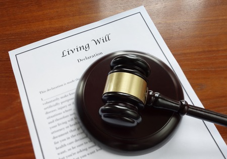 ailing: Living Will document and legal gavel Stock Photo