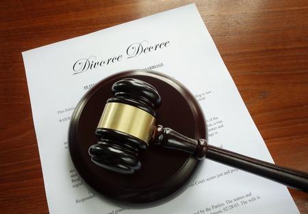 sue: Divorce Decree document with court gavel