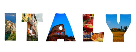 Italy illustration made of images from around Italy including Rome and Cinque Terre Фото со стока