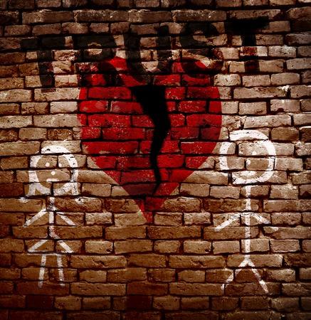 broken trust: Stick figure couple with broken red heart and Trust text
