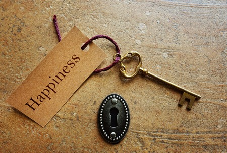 Lock with gold key and Happiness tag