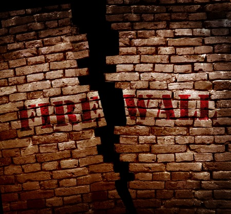 breakin: Firewall text on cracked brick wall -- Internet security concept