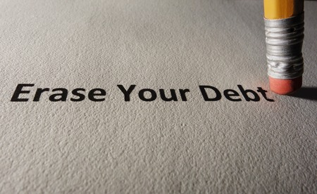 lend: Erase Your Debt text on paper with pencil eraser Stock Photo