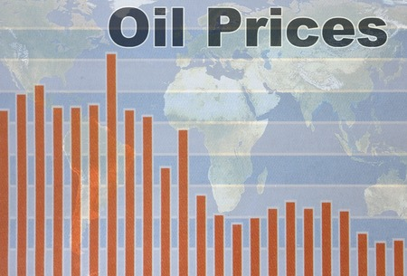 price uncertainty: World map and Oil Prices chart going down Stock Photo
