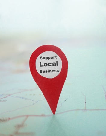 business support: Red locator symbol with Support Local Business text on a map