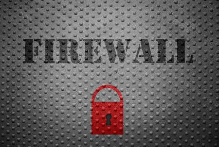 breakin: Metal with Firewall text and red lock -- internet security concept