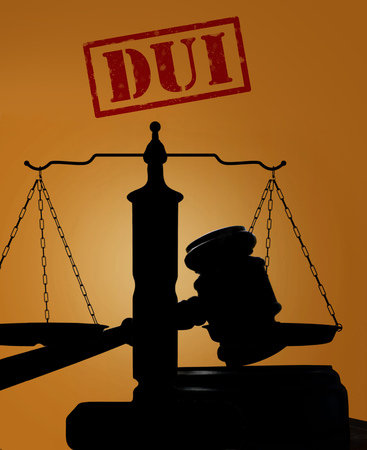 dui: Court gavel and scales of justice silhouette with DUI stamp. Driving under the influence concept Stock Photo