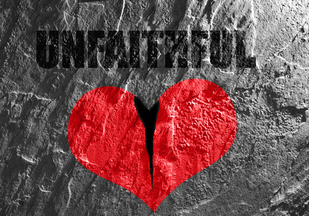 unfaithful: Red heart on textured background with Unfaithful text