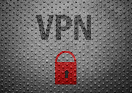 vpn: VPN text on metal with red lock symbol -- Virtual Private Network or Internet security concept Stock Photo