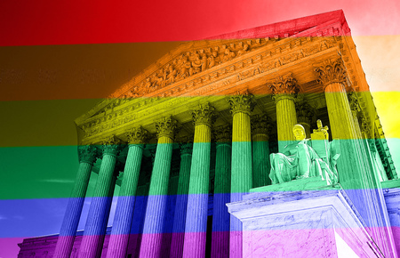 sex appeal: The United States Supreme Court with LGBT rainbow colors -- gay equal rights concept