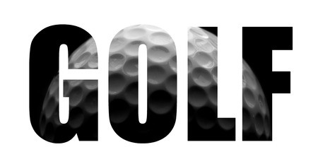 golfball: Golf text with golf ball image, on white Stock Photo