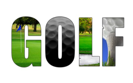 golfball: Golf text illustration with assorted golf images, on white Stock Photo
