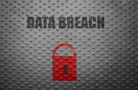 Data Breach text on metal with broken lock