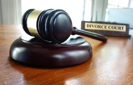 Judges court gavel with Divorce Court nameplate