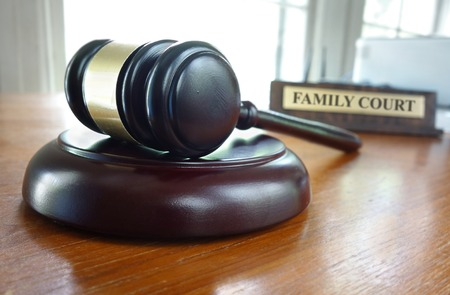 Judge's legal gavel on a desk with Family Court nameplate in the background Stock fotó - 58904961
