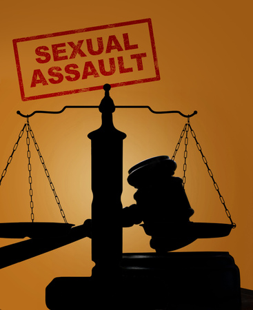sexual: Court gavel and scales of justice silhouette with Divorce text