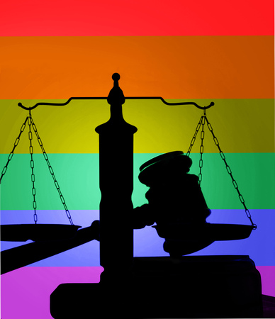 sex appeal: Court gavel and scales of justice with LGBT rainbow flag colors