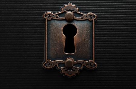 Keyhole op ouderwetse deurslot Stockfoto