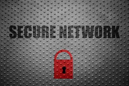 stolen data: Secure Network text with red lock on metal background Stock Photo