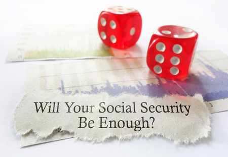 volatility: Social Security benefit message with dice and stock chart