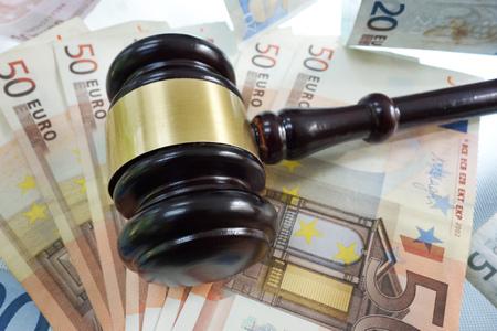 Judges legal gavel on Euro bills