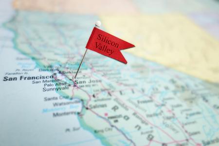 silicio: Silicon Valley pin de la bandera en un mapa de la zona de San José y San Francisco