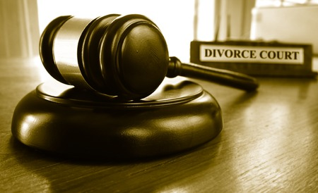 alimony: Judge gavel with Divorce Court placard