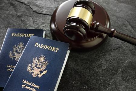 US passports and judges legal gavel Foto de archivo