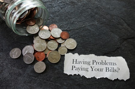 delinquent: Bill paying trouble message with coins