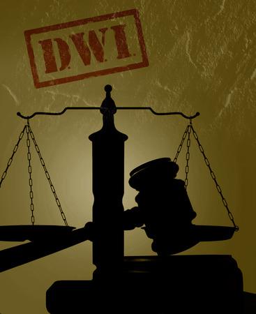 dwi: Court gavel with DWI text -- Driving while intoxicated concept Stock Photo