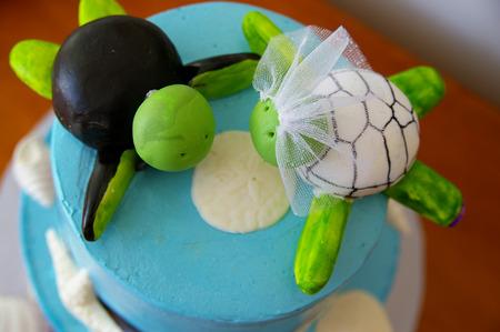 themed: Beach themed custom wedding cake with sea turtles dressed as bride and groom