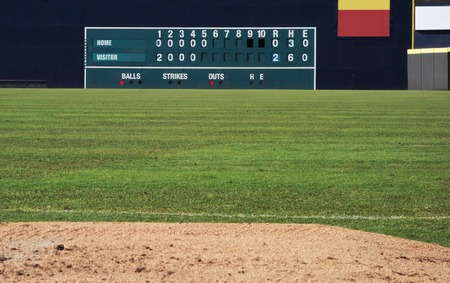 Old fashioned manual baseball scoreboard in a baseball outfield