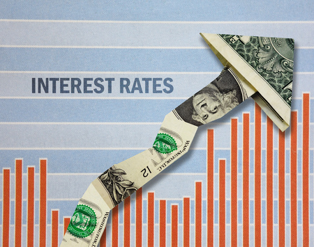 Dollar arrow over chart with Interest Rate text