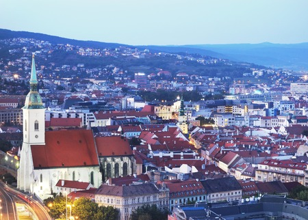 urban landscapes: View of Old Town in Bratislava Slovakia at dusk Stock Photo