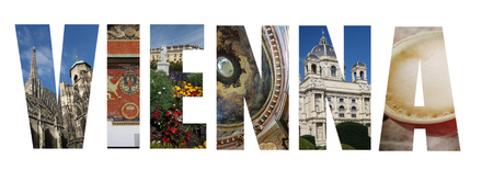Assorted images of Vienna Austria in collage over white background
