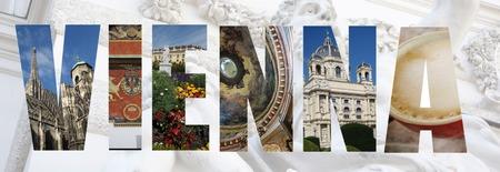 ウィーン オーストリアのコラージュ スタイルの盛り合わせの画像 写真素材