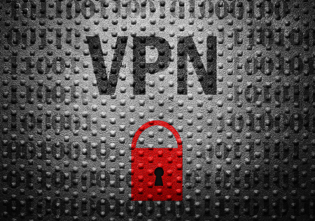 lock symbol: VPN text over binary with red lock symbol -- Virtual Private Network or Internet security concept
