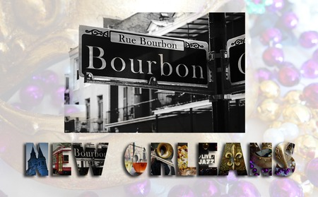 new orleans: New Orleans illustration with assorted images from the French Quarter