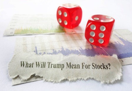 Donald Trump news headline with stock market chart and dice