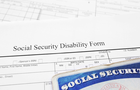 Social Security Disability application form and Social Security card