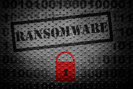 compromised: Ransomware text with red lock -- cyber crime concept