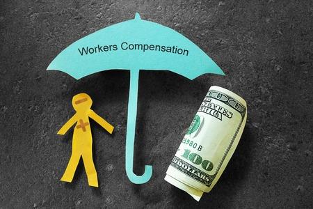 comp: Injured paper man with money, under Workers Compensation umbrella