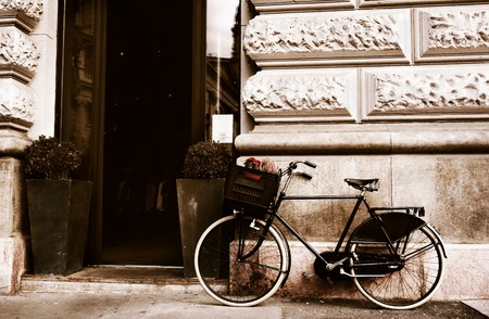 A bike in front of an old building in Budapest Hungary