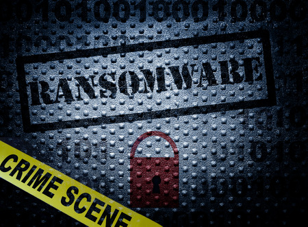 Ransomware and crime scene tape with red lock -- cyber crime concept