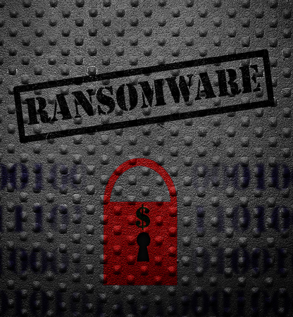 Ransomeware text with red lock on metal Stock Photo
